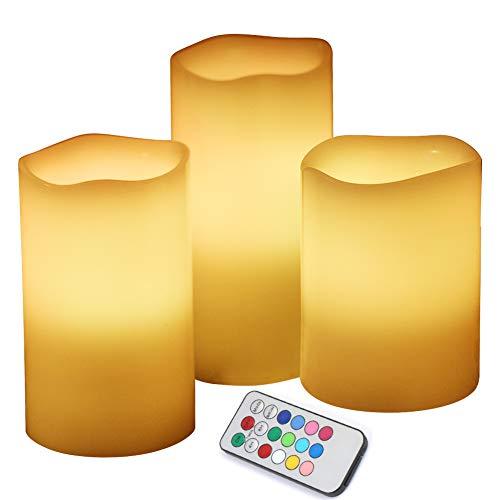 Set candele led [3 pezzi], neoperlhk candela atmosfera colorata a batteria 12 colori in paraffina con telecomando lampadine luci decorative natale feste matrimonio