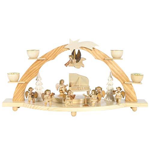 OBC Schwibbogen für echte Kerzen/Große Engel Kapelle Natur/Lichterbogen Erzgebirge Stil, handgefertigt/Deko zu Weihnachten