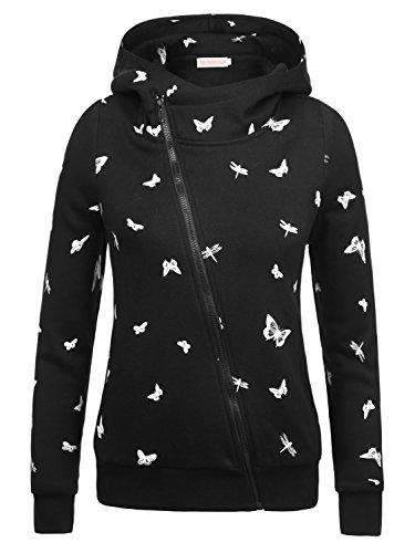 EA Selection Winter Damen Hoodie Sweatshirt Sterne Muster Kapuzenpullover Schwarz-Schmetterling M (College Sweatshirt Hoody)