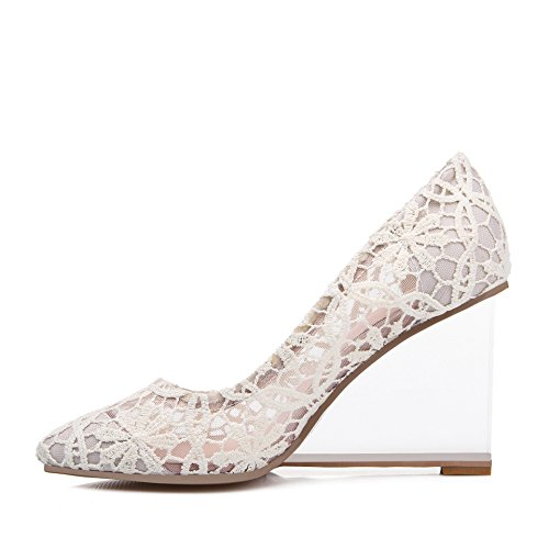 WSS chaussures à talon haut NET filé avec sexy dentelle Europe transparente avec Crystal avec santals de haut talon femmes chaussures apricot