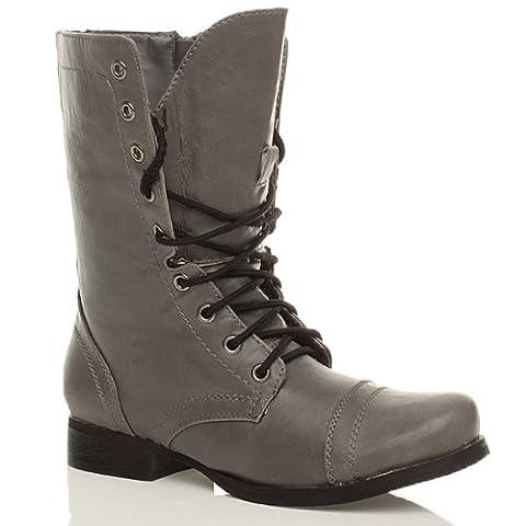 Damen Graue Militär Stiefel Springerstiefel Arbeitsstiefel Armee Grösse 3 36