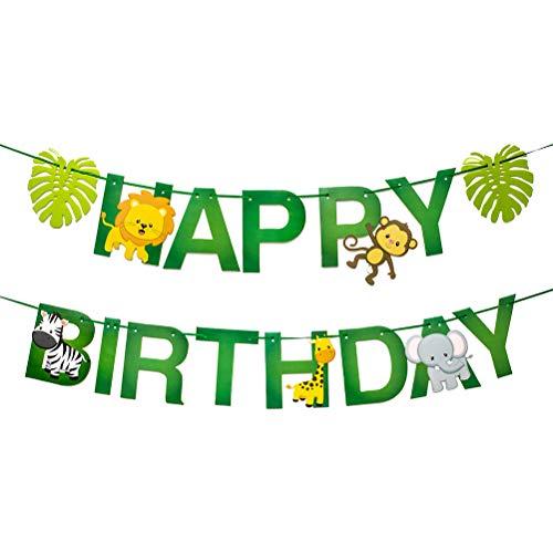 7thLake 1 Satz Alles Gute zum Geburtstag Baby Shower Safari Dschungel Tier Papier Banner Dekor Schöne