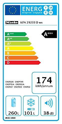 Miele KFN 29233 ws Kühl-Gefrier-Kombination / Energieeffizienz A+++ / 201 cm Höhe / 174 kWh / 101 Liter Gefrierteil…