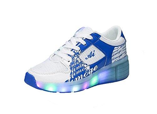 Unisex Schuhe Mit Rollen Skateboard Kinder Mädchen Jungen Led Leuchtet 7 Farbe Farbwechsel Sneaker Blau