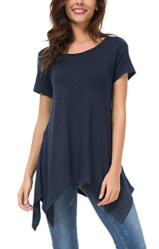 Urban goco donna casual tunica tops t-shirt comoda basic orlo irregolare camicia maglietta (l, blu marino)