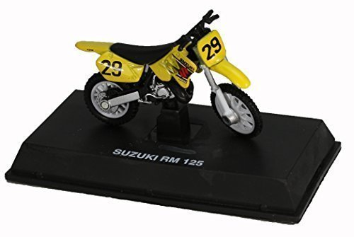 Die-Cast Yellow Suzuki RM 125 Dirt Bike, 1:32 Scale by NewRay