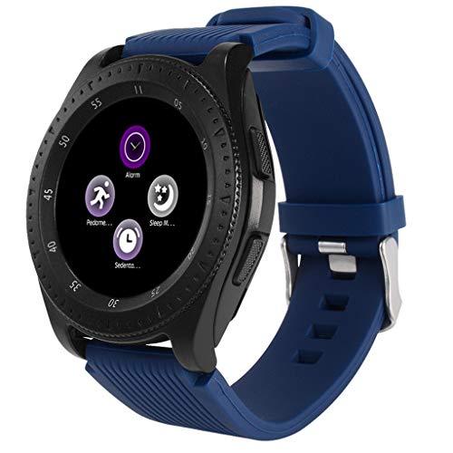 VRTUR Watch (Bluetooth) Smartwatch mit Sportarmband Schrittzähler, Schlafüberwachung,Kamer, Android Wear/Wear OS by Google TFT-LCD Blau