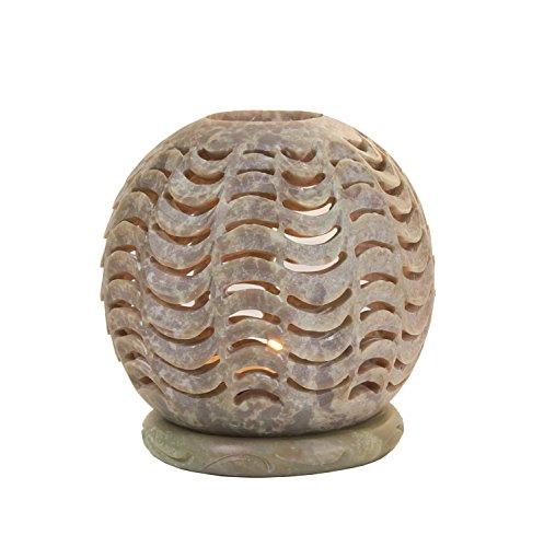 Store Indya Globe Stil Votiv Teelichthalter Natur Speckstein Kerzenhalter mit komplizierten offenen Floral geschnitzt Design Home Saison Dekor (Design 12)