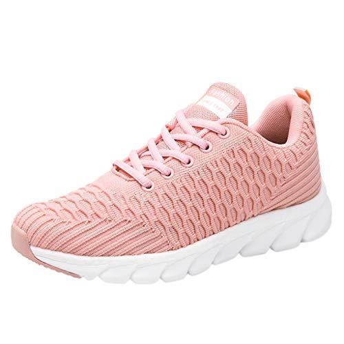 CUTUDE Damen Laufschuhe Atmungsaktiv Rutschfeste Kissen Turnschuhe Beiläufige Schnürer Leichte Stoßfest Sneaker für Gym Walking Frühling Sommer (Rosa, 34 EU)