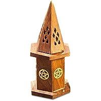 Räucherkegelhalter Kegelhut Pentagramm Symbol mit Vorratsbox Ø ca. 8,5 cm x 16,5 cm Holz, Räuchergefäß Kegelhalter... preisvergleich bei billige-tabletten.eu