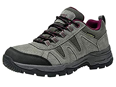 Riemot Women Walking Shoes Fully Waterproof Outdoor Hiking/Trekking Climbing Shoes Approach Shoes Lightweight Breathable Trail Running Trainers