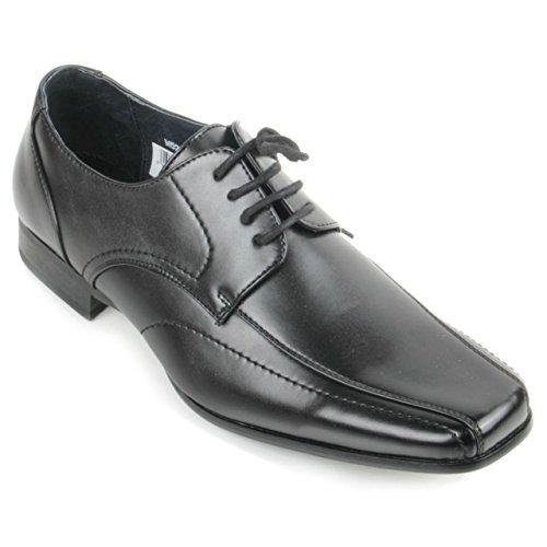 Smart Cover en cuir pour homme Doublure en dentelle et fourchus Kinyongia carré chaussures Noir