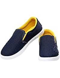 Azotic Men's Black & Yellow Synthetic Leather Slip-On Casual Shoes