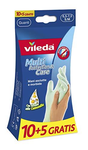 guanti vileda Vileda Multi Protection+Care Guanti USA e Getta in Lattice con Crema alla Glicerina