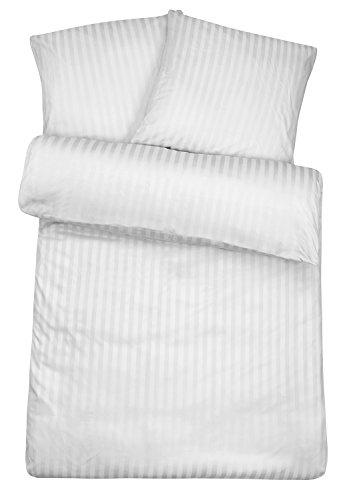Carpe Sonno Luxuriöse Damast-Bettwäsche in exklusiver Hotelqualität 135 x 200 cm Weiß aus 100% Baumwolle für besten Schlafkomfort – Hotel-Bettwäsche Set mit Kopfkissen-Bezug und edlen Damast-Streifen (Besten Bettwäsche Aus Ägyptischer Baumwolle)