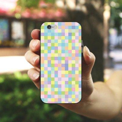 Apple iPhone X Silikon Hülle Case Schutzhülle Muster Bunt Pixel Silikon Case schwarz / weiß