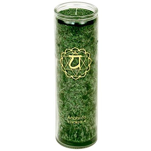 Bougie Chakra - vert, 21 x 6, 5 cm, matériau : verre, stéarine (huile de palme), durée de combustion : env. 100 heures