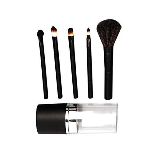 Vi.yo 5 Pcs mini maquillage pinceau ensemble professionnel fondation fard à paupières lèvres cosmétiques pinceaux ensemble pour le visage et les yeux (Noir)