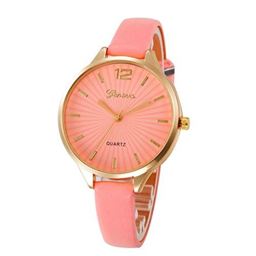 Armbanduhr Damen Uhr Xinnantime Casual Checkers Faux Leder Analoge Quarz Damenuhr Frauen Farbe 6 (Standard, Rosa)