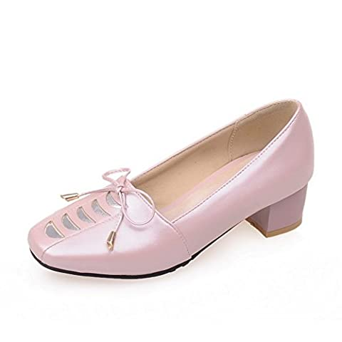 1TO9 Girls Low-Cut Uppers Kitten-Heels Casual Pink Polyurethane Pumps Shoes 7 UK