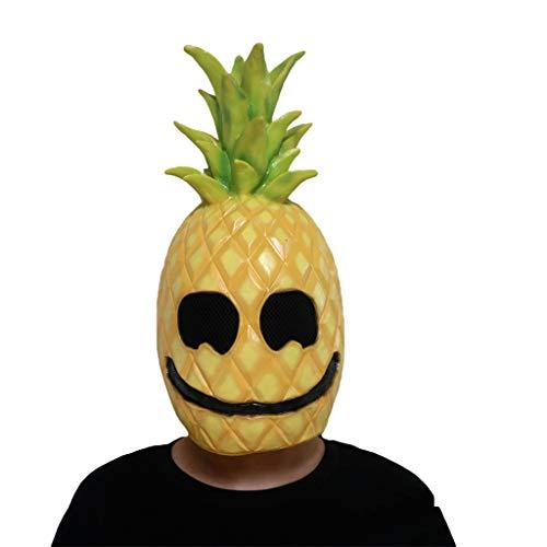QWEASZER Obst Ananas Masken Lustige Cosplay Prop Abschlussball Bar Party Helm Halloween Lustige Latexmaske,Yellow-OneSize (Lustig Deadpool Halloween)
