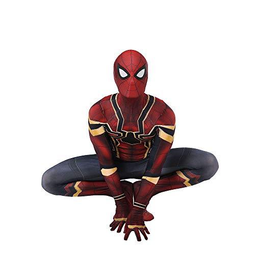 SEJNGF Iron Spider-Man Avengers Cosplay Einteilige Strumpfhose Lycra Dreidimensionaler Druck Kostüm Halloween Charakter Performance Set (Kopfbedeckung Kann Getrennt ()