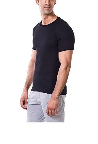 Solo® 1/2 Arm Herren Unterhemden Doppelripp mit Roundhalsausschnitt. Bis zu 100% ägyptischer Baumwolle. Farben und Größen. Black