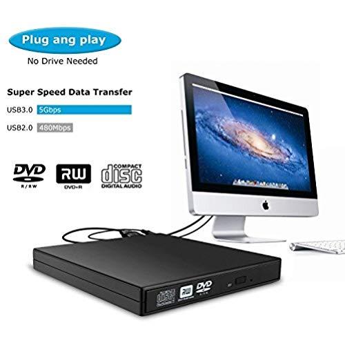 USB 3.0 Externes CD Laufwerk von Paragala Ultra Slim Portable Externes Optisches Laufwerk CD DVD Brenner Leser Writer Player für Laptops Desktops und Notebooks (Dvd-player Surface Für Portable)