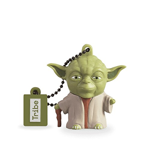 Tribe Disney Star Wars Yoda The Wise - Memoria USB 2.0 DE 16 GB Pendrive Flash Drive de Goma con Llavero, Multicolor