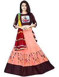 6ab2ba1b23 Nikrish Creations Women's Cotton Lehenga Choli with Dupatta, Free Size  Peach & Coffee