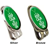 """"""" KEEP CALM AND GOLF ON """" FUSION CAP OR HAT CLIP AND MAGNETIC GOLF BALL MARKER BY ASBRI GOLF"""