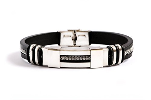 Silicone Stainless Steel Bracelet Black Fashion Wristband Men Alex Sterling Brand with FREE Gift Box