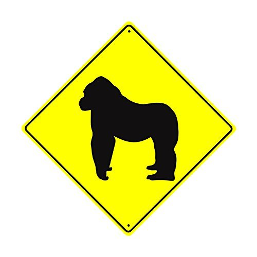 ymot101 Gorilla CROSSING Xing Wildlife Animal Attack Vorsicht Sicherheit Hunter CROSSING SIGN FUNNY Aluminium Metall Schilder Vintage Retro Metall blechschild Teller Wandschild Geschenk Schild 30,5 x 30,5 cm
