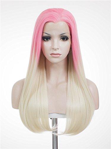 Imstyle Tneapplitan Couleur Rose ombré Blond Perruque synthétique résistant à la chaleur longue raide Texture Dentelle des Perruques