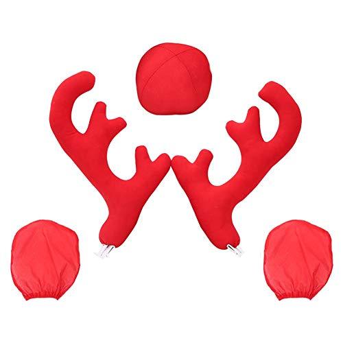Cosy-TT 5 Stücke Auto Weihnachten Rentier Geweih Rote Nase Großes Fahrzeug Kostüm Dekoration 2 Geweih-2 Rückspiegel Abdeckungen-1 Rote Nase