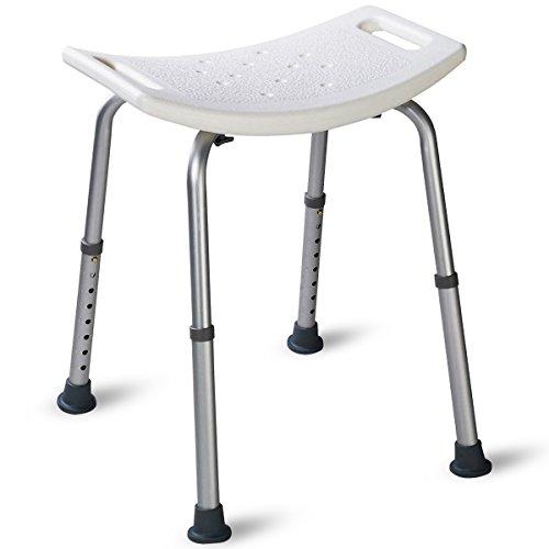 COSTWAY Duschstuhl Badehocker Badestuhl Duschhocker Duschsitz Badhilfe 8-fach höhenverstellbar mit oder ohne Rücklehne (Modell 1)