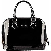 733a8feeb0553 AiSi Damen Lack Leder Handtasche Damenhandtasche   Schultertasche Henkeltasche mit Reißverschluss