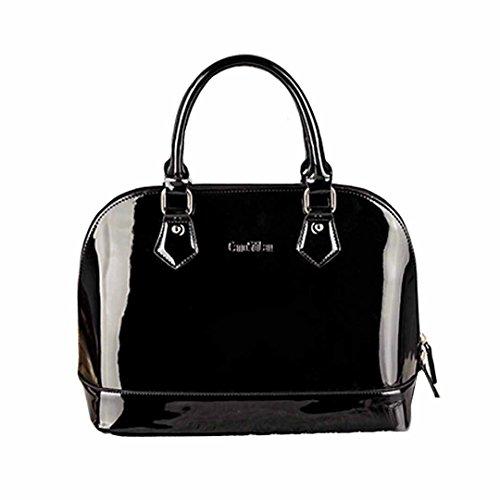 AiSi Damen Lack Leder Handtasche/ Damenhandtasche/ Schultertasche/ Crossbody Bag/ Umhängetaschen/ Henkeltasche mit Reißverschluss (Schwarze Lack Handtasche)