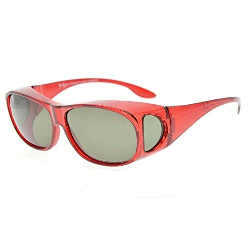 Eyekepper Retro Style Polarized Fitover Sonnenbrille für Korrekturbrillen (Rote Fassung / G15 Gläser), Einheitsgröße