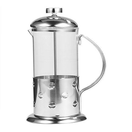 VBESTLIFE Kaffeeflasche,350/600/800 ml Edelstahl Glas Französisch Presse Kaffeetasse Tee Maker...