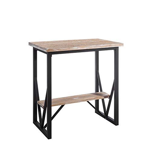 Tousmesmeubles Table Haute Métal/Bois et Repose Pieds - Brutus - L 100 x l 60 x H 105 - Neuf