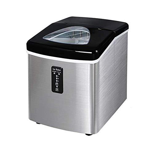POIUYT Tragbare Eiswürfelmaschine - Für Die Herstellung Von 18 Kg EIS Pro 24 Stunden - Eiswürfel In 8 Minuten Fertig - Maschine Mit Eisportionierer Und 1 Kg Eisbehälter 28 7 * 37 5 * 35 7 cm,Silver
