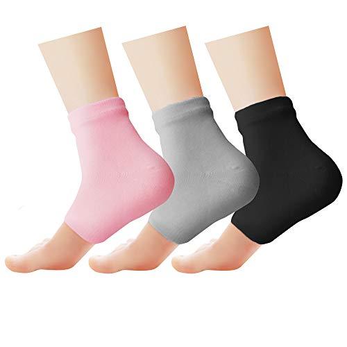 Phenitech Gel Socken Feuchtigkeitsspendende,Gel-Fersen-socken Spa Socken für Reparatur Trockene Gebrochene Ferse, Cracked Heel Socken Open Toe Socken für Damen & Herren (3 Paar,Rosa, grau, schwarz)