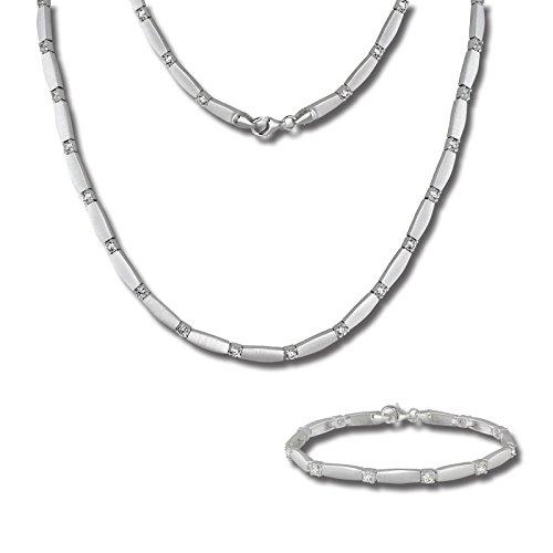 SilberDream weiß Collier & Armband Zirkonia Silber Schmuck Set Damen SDS447W