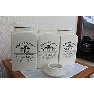 MRS. APPLEBY'S SET OF TEA COFFEE SUGAR JARS CANISTERS GLOSSY CREAM JARS