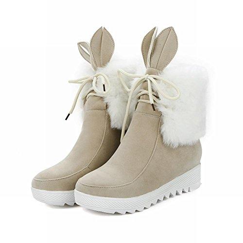 Mee Shoes Damen süß Nubukleder hidden heels kurzschaft Stiefel Beige