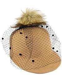 Complit ®, Donna, cappello invernale, baseball elegante con pompon e veletta, 100%MadeInItaly