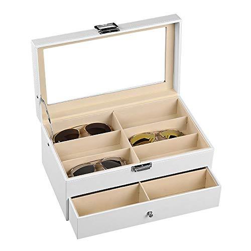 DMMW Aufbewahrungsbox für Brillen 12 Stück weiße Sunglass Zwei Ebene Gläser Vitrine mit Schublade Box Zubehör Veranstalter Gläser, die Anzeigen-Halter-Sonnenbrille-Organisat
