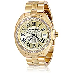 Techno Trend Men's Extra Large Gold Plated Round Clear Iced Out Dome Lens Heavy Hip Hop Bling Watch