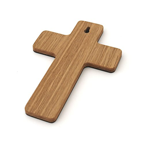 Taufkreuz mit Namen Kinderkreuz aus Holz Holzkreuz Gravur Schutzengel zur Taufe als Taufgeschenk für Taufpate für Mädchen Junge personalisiert mit Name Geschenk zur Geburt, Eiche - 4